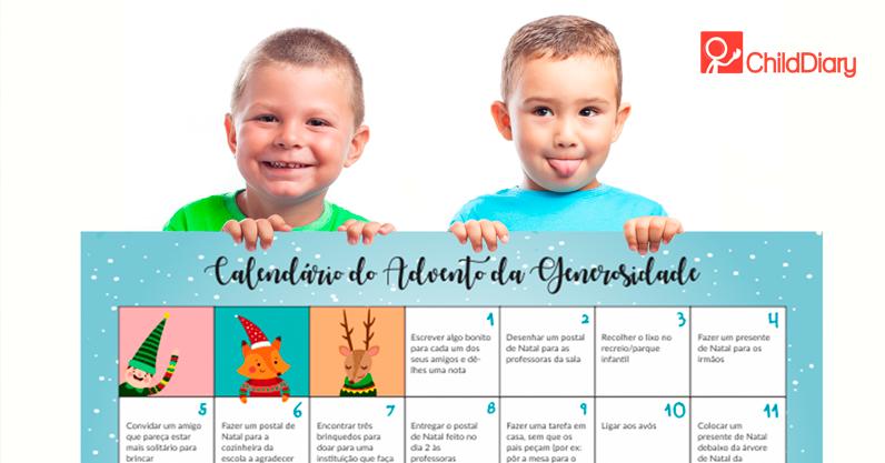 Calendário do Advento da Generosidade - Criança com o calendário