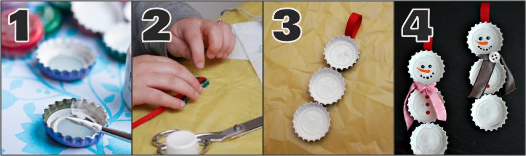 Como fazer um Boneco de Neve com caricas - passo a passo