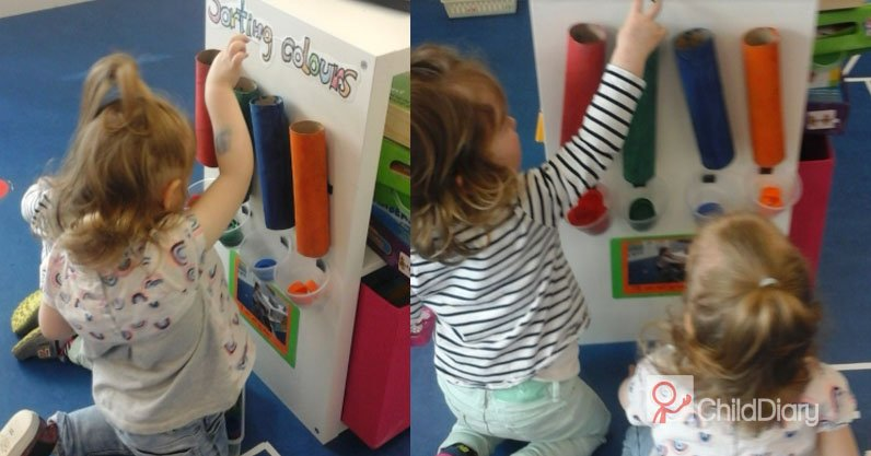 Tips for enhancing the resources in your Preschool room - Sorting colours with cardboard tubes