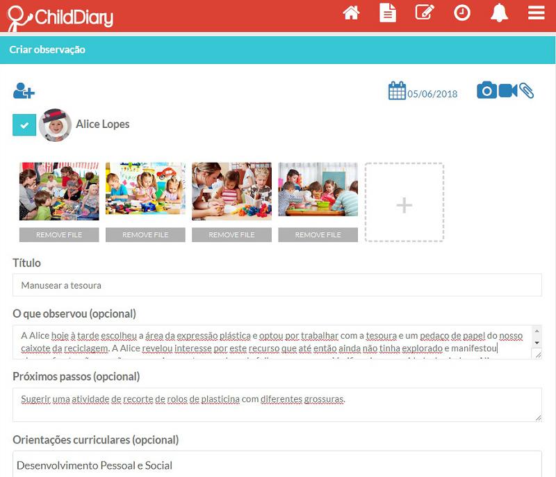 Exemplo de como criar um registo de observação na ChildDiary