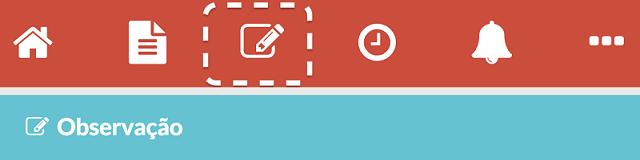 Registos de observação - botão do menu